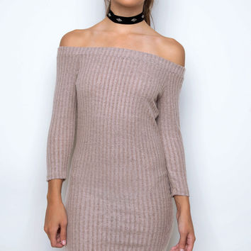 Frolic Off The Shoulder Dress - Taupe