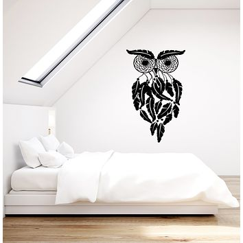 Vinyl Wall Decal Dreamcatcher Amulet Owl Bird Feathers Stickers (3704ig)