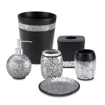 Shop bath ensemble on wanelo for Black crackle bathroom accessories