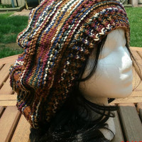 Hand Knit Hat - The Rasta Slouch Hat in Brown Variegated - Handmade hat, fall and winter accessories
