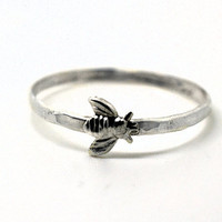 Sterling Silver Bee Ring, Handcrafted Insect Ring, Animal Jewelry, Honey Bee Ring,