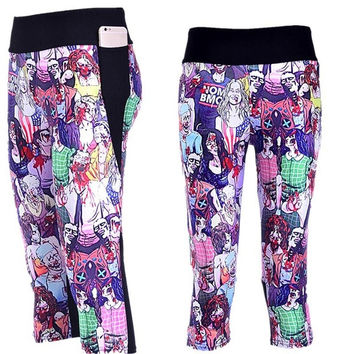 Fashion Womens Polyester Fibers Elastic Digital Print The Walking Dead Lift The Hips 3/4 Leggings For Yoga Workout Fitness Exercise-trt = 1932347140