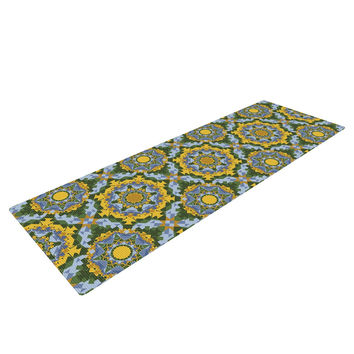 "Alison Soupcoff ""Sunflower"" Blue Yellow Yoga Mat"