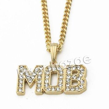 ONETOW Mens Iced Out Brass Gold MOB Charm Pendant w/ 5mm 24' 30' Cuban Chain A08G