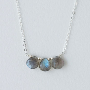 Labradorite Briolette Necklace in Sterling Silver, Delicate Gemstone Necklace