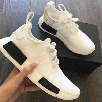 x1love £ºADIDAS NMD Trending Fashion Casual Sports Shoes white -black logo soles