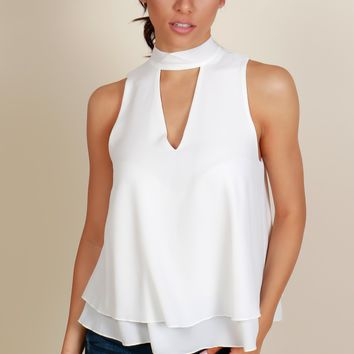 Open Heart Blouse White
