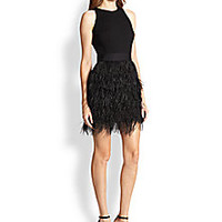 MILLY - Blair Ostrich Feather & Stretch Wool Dress - Saks Fifth Avenue Mobile