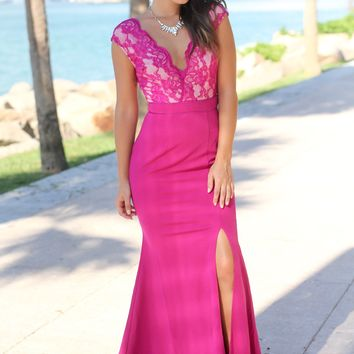 Magenta Lace Top Maxi Dress with Side Slit