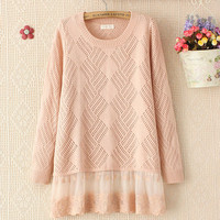 Pretty Diamond Hollow Crocheted Mesh Hem Long Sleeved sweater