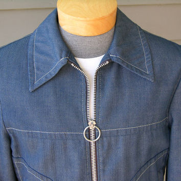 vintage 60's - 70's Men's McGregor denim jacket. Motorcycle cut with Day-Glo blanket lining. Possibly 'NEW' Size 40