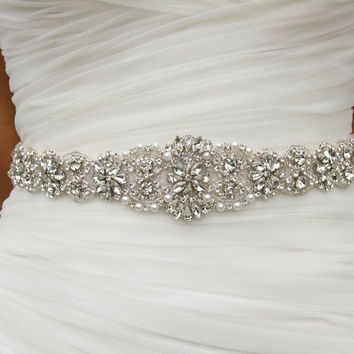 Wedding Bridal Sash Belt Crystal Rhinestone Dress Sash Prom Sash Wedding Sash Belt (18x2.2inches)