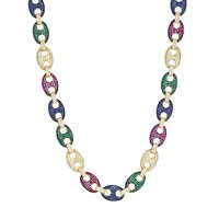 Sterling Silver Multi Color Iced Out Gucci Necklace