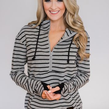 Half Zip Ampersand Hoodie- Grey and Black Striped