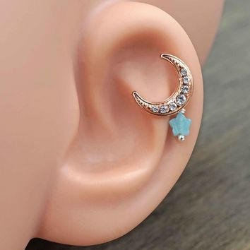 Rose Gold Moon and Star Cartilage Earring