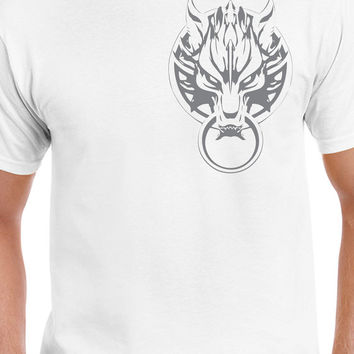 Final Fantasy VII Cloud Strife Fenrir's Emblem Left Chest Gray Logo T-Shirt