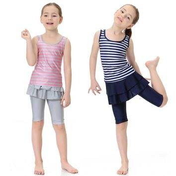 2018 Summer casual Clothes Sets triped Print top + Short swimming beach Girls Sports Suit Kids Clothes