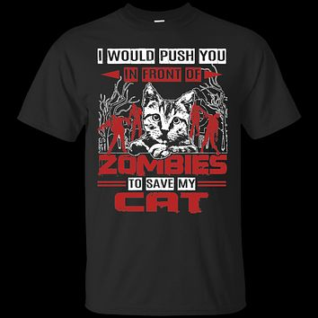 Custom Tee Zombies And Cat