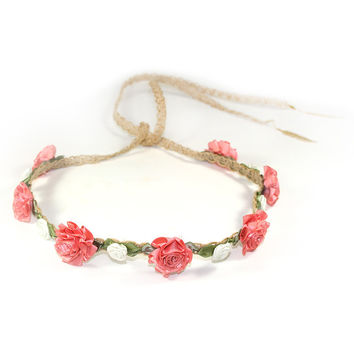 Coral Marigold and White Rose Floral Headcrown