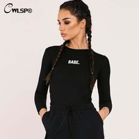 CWLSP Sexy Embroidery BABE Letter Print Bodysuit Women Long sleeve Ribbed combinaison femme Skinny body femme QL3329
