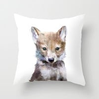 Little Wolf Throw Pillow by Amy Hamilton