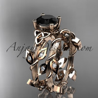 14kt rose gold diamond celtic trinity knot wedding ring, engagement ring with a Black Diamond center stone CT7215S