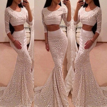 Long-Sleeved Leaky Belly Button Lace Two-Piece Dress