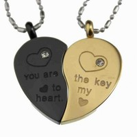 R.H. Jewelry Mens Womens Lovers Couple Stainless Steel Pendant Necklace Set Split Heart