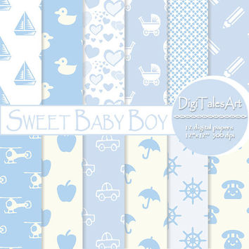 "Baby boy digital paper ""Sweer Baby Boy"" digital clip art papers in baby blue, digital scrapbook paper, baby patterns, baby blue background"