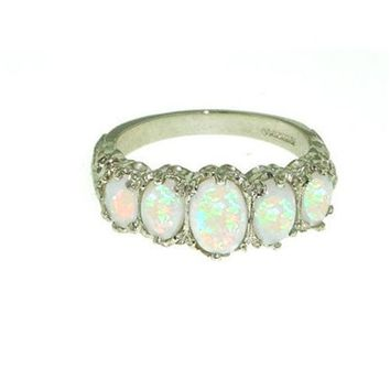 Sterling Silver Ladies 5 Stone Colourful Fiery Opal Ring