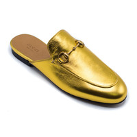 Gucci Gold Princetown Metallic Leather Slipper Slide