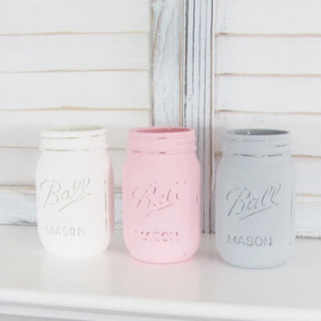 Baby Shower Centerpiece, Table Decor, Rustic Decor, Shabby Chic, Party Centerpiece, Painted Jars, Mason Jars, Distressed, Set of 3 Jars