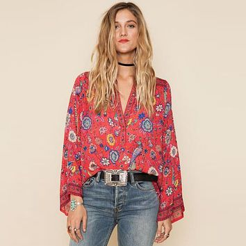 Boho Sheer Flare Sleeve Blouse