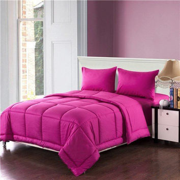 Tache 3-4 Piece Cotton Solid Hot Pink Box Stitched Comforter Set, Cal King, King (3-4PCOM-BOXES-Pink)