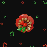 Small Holiday Brooch - OOAK Retro Christmas Pin made with Vintage