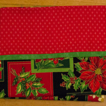 Christmas Holiday Pillowcase - Decorative Pillow Case -Poinsettia and Holly Pillow sham