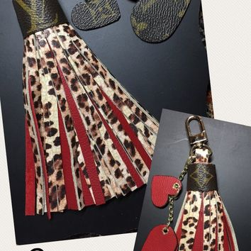 Large Tassel Mixed with Your Choice of Tassel Color & Leopard/Cheetah Leather + Monogram Louis Vuitton Accent Hearts