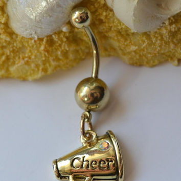 Cheerleader belly button ring - Cheerleader navel ring - Gold cheerleader belly button ring - Megaphone belly button ring
