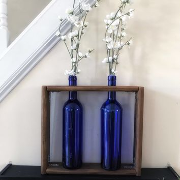 Rustic Wine Bottle Shadow Box