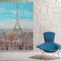"Large painting of Eiffel Tower in Paris 48""x64"" Contemporary art turquoise Tour Eiffel extra large bedroom decor wall unstretched canvas"
