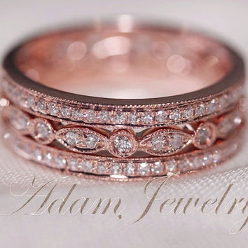 Discout for 3-Ring-Set! Perfect Matching Rings 14k Rose Gold Wedding Ring  Diamonds Ring/  Engagement Ring/ Half Eternity Band/ Promise Ring