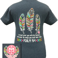 Girlie Girl Originals Aztec Feathers Psalm 91:4 Christian Bright T Shirt