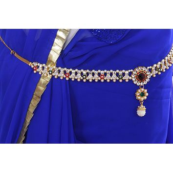 Multi colour Multi Liner Pearl Juda Waist Belly Hip Chain Belt Kamarband (Waist belt)