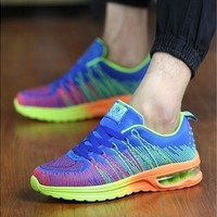 Running Shoes Male Fly Knit Vamp Fashion Trend Man Sports Shoes Breathable Mesh Inside Cushioned Air Cushion Mens Trainers H985 [8834061644]