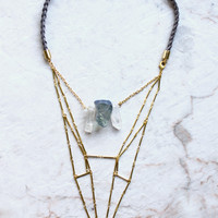 Crystal Geometric Structure Suede Necklace