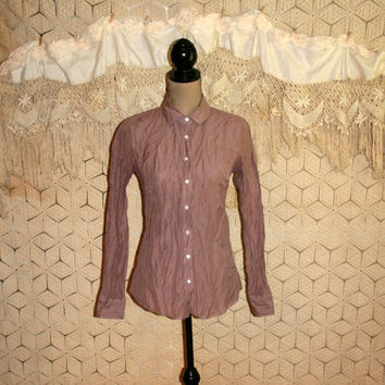 Mauve Crinkle Blouse Long Sleeve Button Up Blouse Womens Shirt Shimmery Tailored Shirt J Crew Size Small Shirt Small Blouse Women Clothing