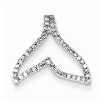 14k White Gold Diamond Whale Tail Pendant