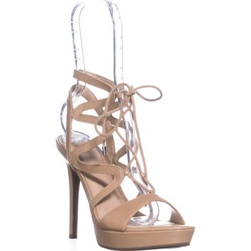Guess Aurela Lace Up Strappy Sandals, Medium Natural, 9.5 US