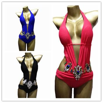 2017 Sexy Women Ladies Diamond Bikini Halter Swimwear Rhinestone Luxurious Swimsuit Bathing Suits Biquini Maillot De Bain