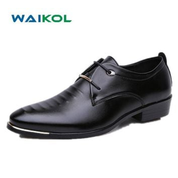 Waikol Hot Sale New Oxford Shoes for Men Fashion Men Lace Up Shoes Spring Autumn Men Casual Flat Patent PU Leather Men Shoes